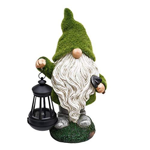 Flocked Garden Gnome Statue