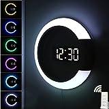 Reloj de pared con luz LED, reloj digital con control remoto creativo, alarma de temperatura, anillo de cambio de color, luz nocturna para decoración del hogar y la oficina