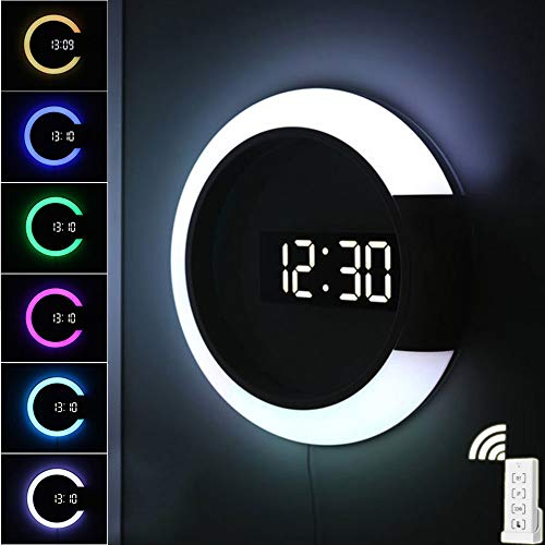Digitale Wanduhr, LED-Licht Fernbedienung Elektronische Uhr mit Wecktemperatur Mehrfarbiges Schaltringlicht Große runde Uhr Spiegel Wandleuchte für Home Office Mall Schuldekoration