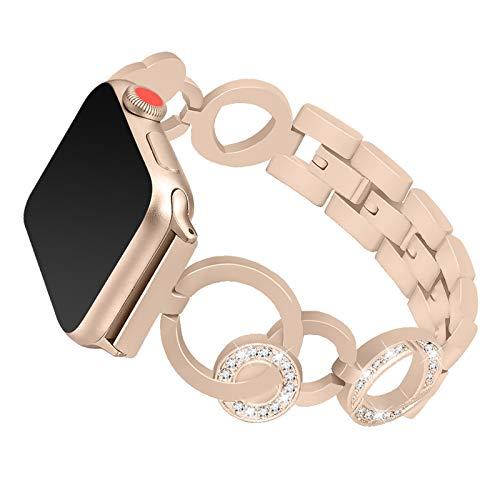 Fhony Correa de Repuesto Compatible con Apple Watch Band 38mm 40mm 42mm 44mm Brillante Diamante Rhinestone Acero Inoxidable Correa de Pulsera para Iwatch Series 6/SE/5/4/3/2/1,Vintage Gold,44mm