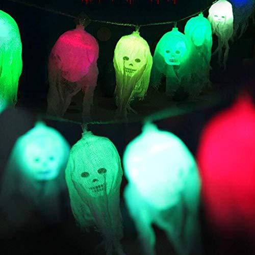 WYDM Luces de decoración de Halloween de Calavera, 8.2FT 10LEDs Esqueletos Luces de Cadena de Halloween, Lámpara de Hadas Cadena de Luces Luces de Halloween Deco