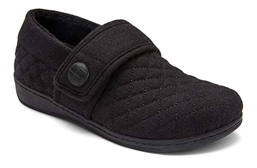 Vionic Women's Indulge Jackie Flannel Slip On Slipper- Comfortable Spa House Slippers that include Three-Zone Comfort with Orthotic Insole Arch Support, Soft House Shoes for Ladies Black 10 Medium US