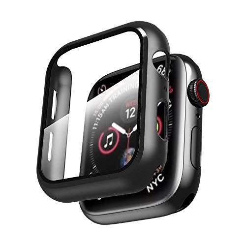 YoLin Apple Watch Series 5 / Series 4 Schutzhülle, Mit Panzerglas Displayschutz Ultradünne PC iwatch All-Around case für Apple Watch Series 5 / Series 4 40mm (Schwarz)