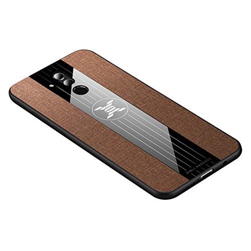 Mingxian For Huawei Mate Funda Protectora del 20 Costura de Tela a Prueba de Golpes textue TPU Lite/Maimang 7 (Negro) (Color : Brown)