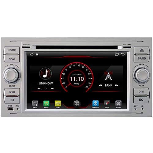 BWHTY Android 10 Car DVD Player GPS Stereo Head Unit Navi Radio Multimedia WiFi para Ford Fiesta 2005 Kuga 2008-2011 S-MAX 200 - -2009 Soporte de Control del Volante (Negro)