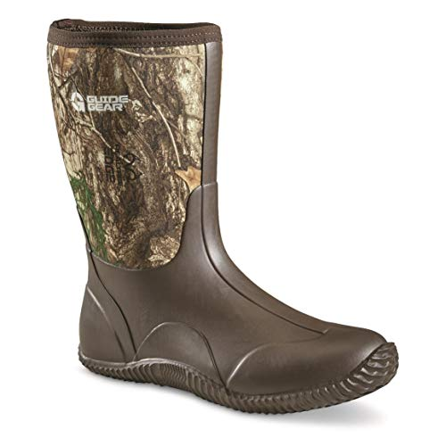 Guide Gear Men's Mid Camo Bogger Rubber Boots, Realtree Edge, 11D (Medium)