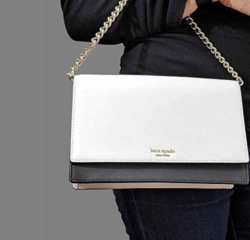 Kate Spade New York Leather Cameron Convertible Crossbody Handbag Clutch, Beechwood, Warm Beige, Black