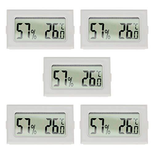 WINOMO 5Pcs Mini Jauge Dhygromètre Numérique Thermomètre Intérieur Hygromètre Extérieur Moniteur Dhumidité sans Fil avec Écran LCD pour Bureau à Domicile (Blanc)