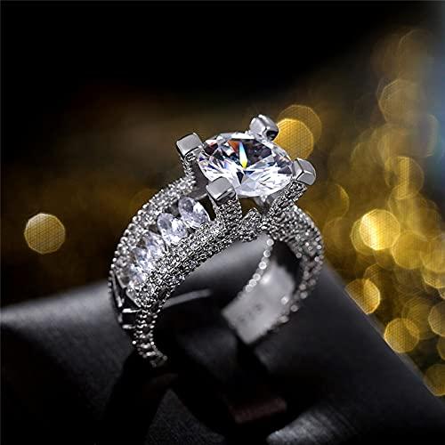 JIUXIAO Anillos de Boda de Cristal de circonita AAA de Plata de Ley 925 para Mujer, Anillos de Boda Brillantes para Ceremonia de Boda, joyería de declaración