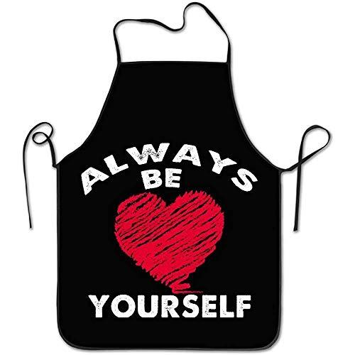 Niet geschikt voor chef-abrikoos Wees altijd jezelf liefde hart design zwart keuken blokkering rand duurzaam string onderhoudsvriendelijk van unisex chef-schort kookschort kookschort slabbetjes instelbaar