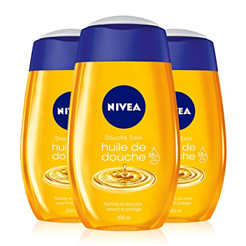 NIVEA Huile de douche (3 x 200 ml), soin hydratant femme enrichi en huiles naturelles, gel douche nutrition intense pour peaux sèches