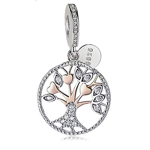 belinia prestige - Colgante Árbol de la Vida - 925/1000 Esterlina - Abalorio de Plata de Ley 925, para Pulsera o Collar Pandora (Oro Rosa)