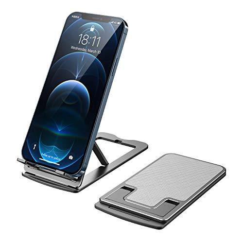 MoKo Soporte Plegable para Móvil en Mesa, Multiángulo Soporte Teléfono de Aluminio Compatible con iPhone, Switch, iPad, Tablet (4''-11'') - Gris Oscuro