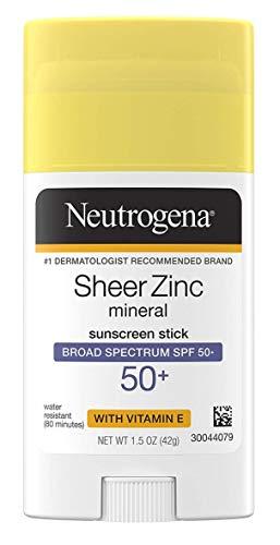 Neutrogena Sheer Zinc Spf#50+ Stick 1.5 Ounce (Pack of 2)