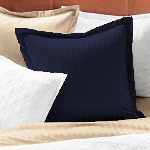 Bedding Attire 2 piezas Oxford Funda de almohada de algodón egipcio a rayas 600 TC grande Euro 80 x 80 cm y azul marino