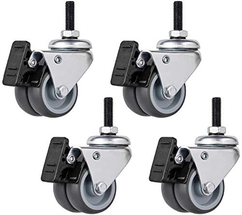 Ldwxxx 4x Rubber Casters 2 Inch 50Mm M6 / M8 / M10 Thread Double Wheel Silent Universal Swivel Replacement Furniture with Brake Quiet Rolling for Trolley Sofa Chair - 200Kg - (Screw)
