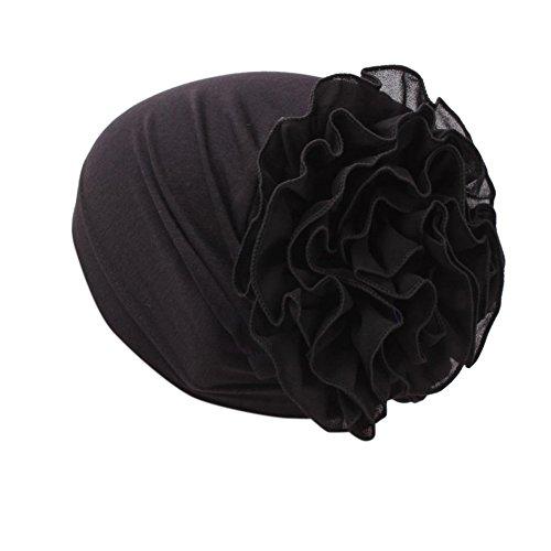 iShine Frau Turban mit Große Blume Einfarbig Kopftuch Chiffon Kopfbedeckung Haarband Chemo Hijab Muslim Elastische Hut Damen Weiblichen Mütze Schwarz