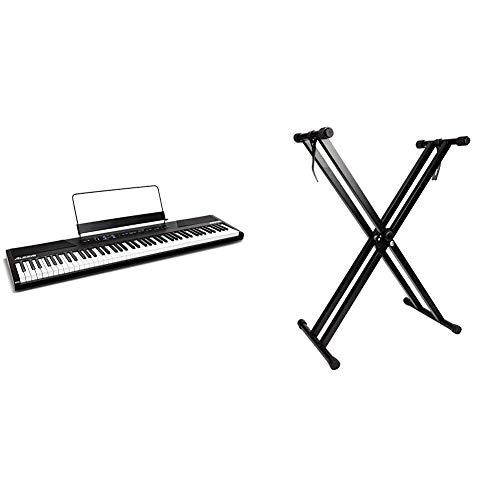 Alesis RecitalTeclado de Piano Digital Eléctrico con 88 Teclas Semipesadas de Tamaño Completo + RockJam Soporte de teclado de doble refuerzo, Ajustable de 29 cm a 91 cm
