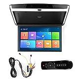 Monitor abatible, 17.3in 1080P Reproductor de techo para automóvil Monitor montado en el techo, Bluetooth TV WIFI HDMI USB SD FM MP5 Reproductor de altavoz, para Android 8.1