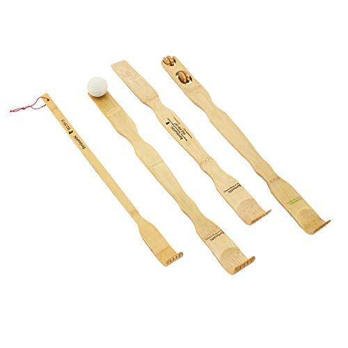 BambooMN Traditioneller Rückenkratzer, Schuhanzieher und Körperentspannungs-Massagegerät-Set für Juckreiz, 100% natürlicher Bambus