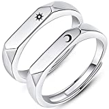 083基地 太陽 月 ペアリング カップルリング フリーサイズ 2枚セット シルバー925 ギフトボックス 結婚指輪 婚約指輪 レディースリング メンズリング