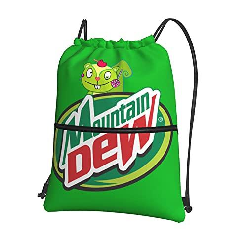 Mountain-Dew - Mochila deportiva con cordón para deportes, viajes, mujer y hombre, bolsa deportiva con bolsillo interior y bolsa de seguridad con cremallera