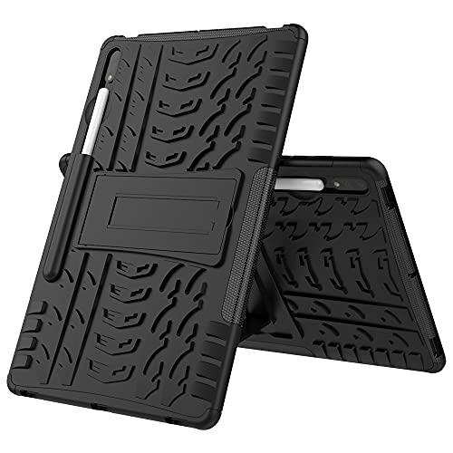 Caja Protectora de la Tableta Cubierta de la Tableta para Samsung Galaxy Tab S7 Plus Neumático Textura TPU a Prueba de Golpes TPU + PC Funda Protectora con Soporte de Mango Plegable (Color : Black)