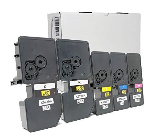 OBV 5er Set kompatibler Toner als Ersatz für Kyocera TK-5220 / TK-5230 für Kyocera ECOSYS M5521cdn M5521cdw P5021 P5021cdn P5021cdw P5021 Series schwarz, schwarz, Cyan, Magenta, gelb