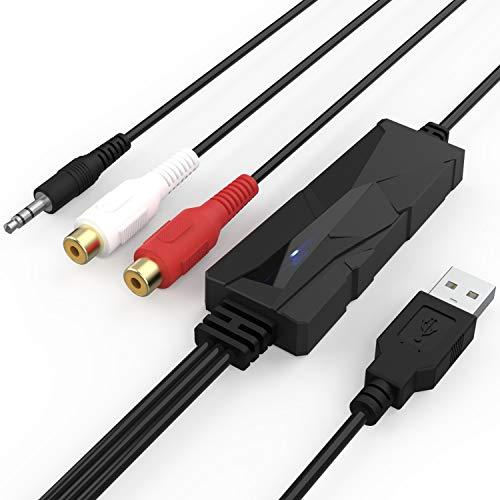 DigitalLife Portatile Interfaccia USB Audio - Scheda di Acquisizione Audio, Interfaccia Cattura Audio da 3,5 mm o RCA R L Jack - Compatibile con PC Mac