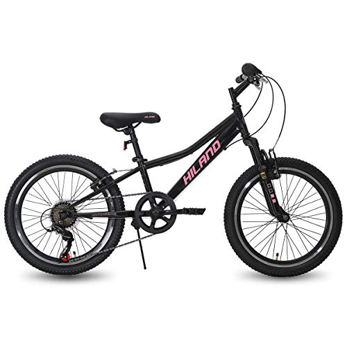 Hiland 20 Inch Kids Bike Mountain Bicycle for Ages 5 6 7 8 9 Years Old Boys Girls Black Pink