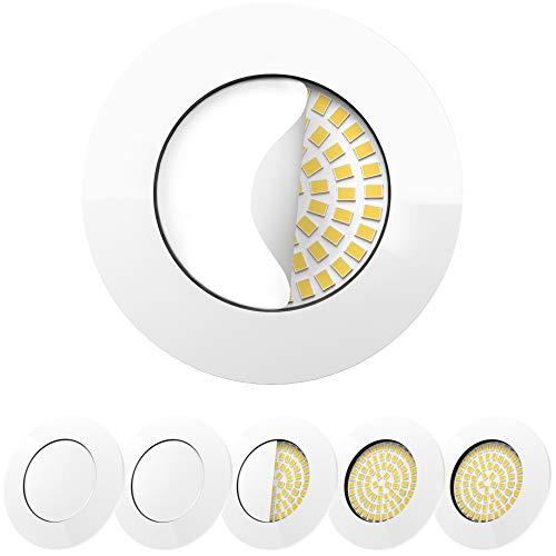 Scandinavian home 6er Set LED Einbaustrahler Weiß-Glänzend 60mm - 70mm I Badezimmer geeignet I warmweiß 230V CRI 90 5W 500lm 3000K 68mm I mit Milchglas I LED Spot Deckeneinbauleuchte flach