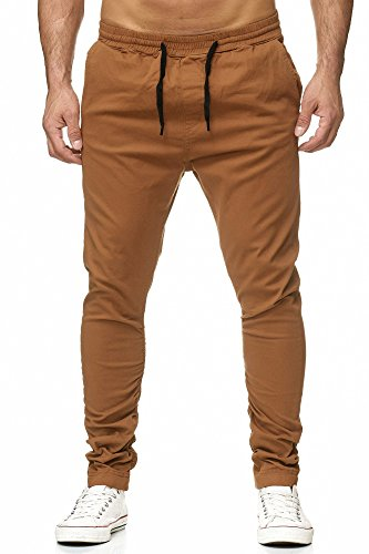 Reslad Chino-Hose Herren Jogging-Jeans Jogger Chino Freizeithose Jogginghose RS-2082 Camel S
