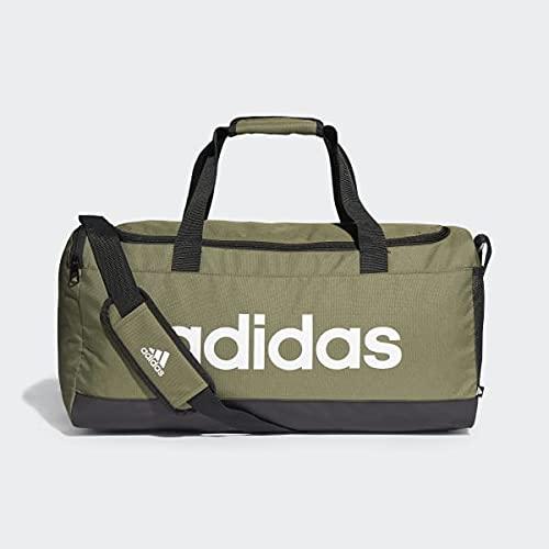 adidas Linear Duffel M Bolsa de Deporte, Adultos Unisex, OLIFOC/Negro/Blanco (Multicolor), Talla Única