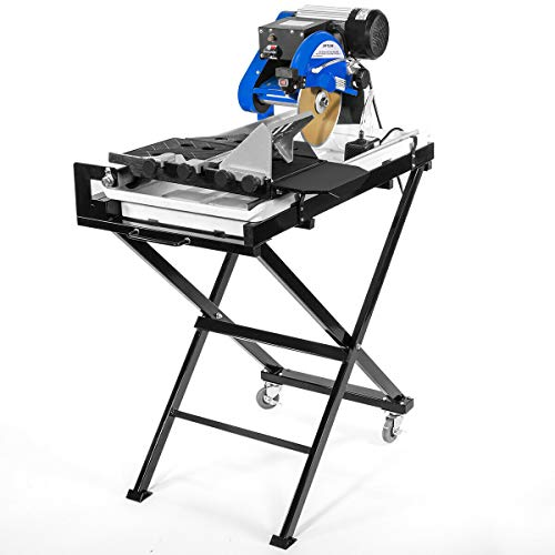 """9TRADING Industrial 2.5hp Motor 27"""" Wet Tile Saw Cut Laser Guide Tray with Folding Stands"""
