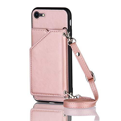 Lanyard Cartera Tarjetero Teléfono Móvil para iPhone 7/8/SE 2020 (Oro Rosa)