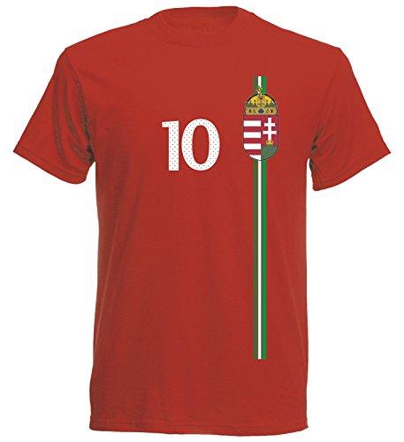 Ungarn Magyarország Herren T-Shirt Nummer 10 Trikot Fußball Mini EM 2016 T-Shirt - S M L XL XXL - rot NC ST-1 (XXL)