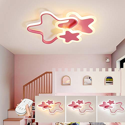 HIL LED plafondlamp, bluetooth muzieklamp, jongens en meisjes slaapkamer vijfsterren plafondlamp dimbaar, acryl lampenkap sterren design kinderkamer plafondlamp 52CM/45W roze