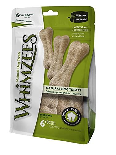 WHIMZEES Reisknochen, natürliche glutenfreie Zahnpflegesnacks, vegetarisch, Kauknochen für Hunde, Größe L, 9 Stk. in 480 g Beutel