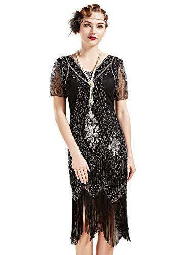 ArtiDeco - Vestido de mujer estilo años 20 con mangas cortas, disfraz de Gatsby para fiestas temáticas negro/plateado XXL