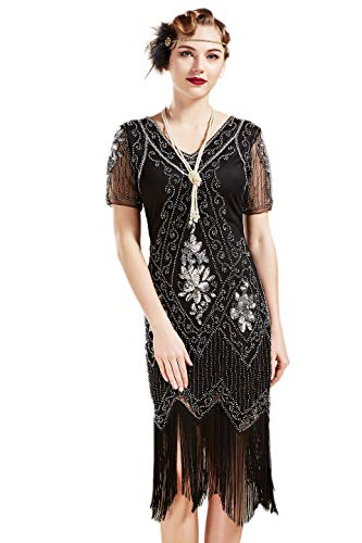 BABEYOND 1920s Art Deco Fringed Sequin Dress 20s Flapper Gatsby Costume Dress (Black Silver, Large)