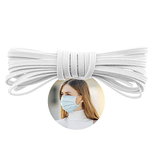 Elastic Band for Sewing - 1/8' (3.5mm) Heavy Stretch Flat Bungee - Arts and Crafts, DIY Face Masks – Knit Braided Cord - Stretchy String for Earloop - 5 Yards (White), by Adolfo Designs