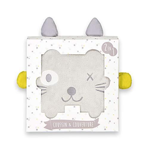 La Redoute Collections - Caja con manta y cojín, diseño de cabeza de gato