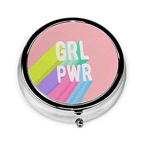 GRL Pwr Pink Round Pill Container 3 Compartment Metal Medicine Case Vitamin Organizer Holder Decorative Box for Travel Outdoors
