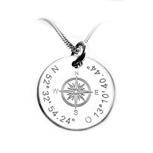 Runder Kompass - Anhänger mit Silberkette, Koordinaten Kette mit Gravur, Reiseschmuck