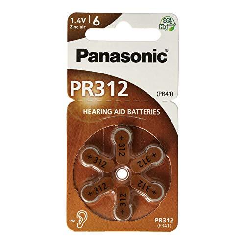 Panasonic PR312 Zink-Luft-Batterien für Hörgeräte, Typ 312, 1.4V, Hörgerätbatterien, 10 Packungen (60 Stück), braun