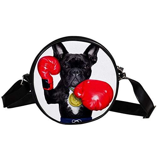 Yoliveya Zubehör-Umhängetasche, Unisex, Erwachsene, modisch, leicht, Schultertasche, Messenger-Tasche, Leinentasche, Hüfttasche, Hund als Box-Trainer