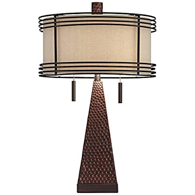 Niklas Industrial Table Lamp with USB Charging Port Rustic Hammered Bronze Metal Double Drum Shade for Living Room Bedroom Bedside Nightstand Office Family - Franklin Iron Works