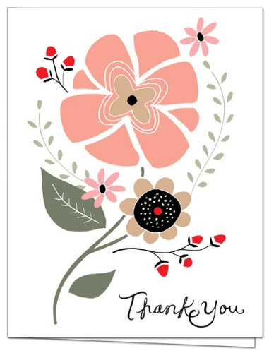 Thank You Cards – 36 Pack – Thank You Bloom – Unique Design – GRAY ENVELOPES INCLUDED – Blank Greeting Card – Glossy Cover Blank Inside – By Note Card Café…