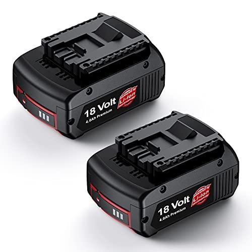 2Pcs 18V 4000mAh Iones de Litio Batería de Repuesto para GBA BAT610G, Compatible con Bosch Batería Profesional BAT609G BAT618G BAT619 BAT620 BAT621 con Indicador LED Herramientas Eléctricas