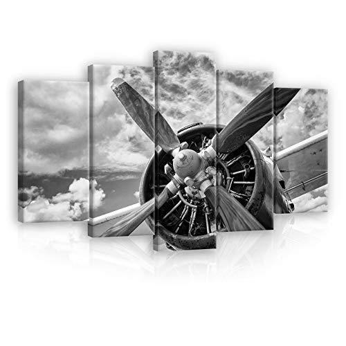 ForWall Leinwandbild Kunstdruck Wandbild - Flugzeug Propeller S17 (100x60 (1x60x20, 2x50x20, 2x40x20)) Bild Canvas AMFPS12714S17